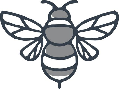 Mono line icon style illustration of a bumblebee or bumble bee, a member of the genus Bombus, part of Apidae on isolated white background.