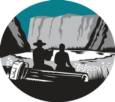 Ilustration of  two campers sitting on a log, one is reading and the other is female with backpack leaning against the log, backdrop is meadow, small glacier lake framed in steep cliffs set inside oval shape done in retro woodcut style.