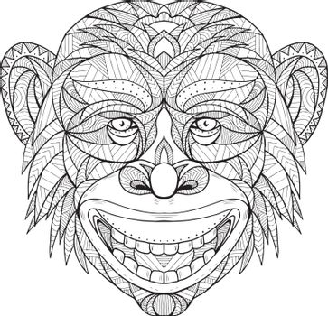 Zentagle inspired and tangled mandala illustration of a primate head of Chimpanzee, chimp or bonobo viewed from front on isolated backgound.