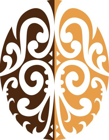 Retro style illustration of a Coffee Bean with Maori Motif consisting koru swirl and curve on isolated background.