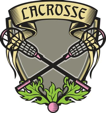 Illustration of a coat of arms with crossed lacrosse stick set inside shield crest with word text Lacrosse on top done in retro woodcut style.