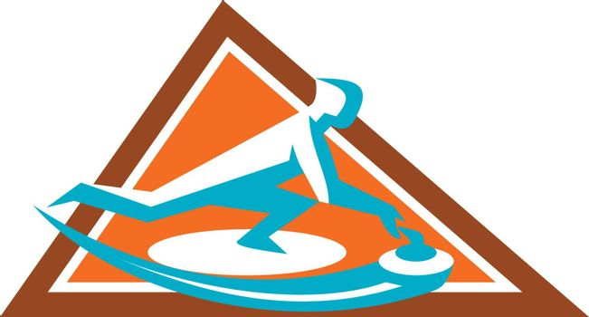 Icon style illustration of a Curling Player Sliding Stone viewed from side set inside Triangle on isolated background.