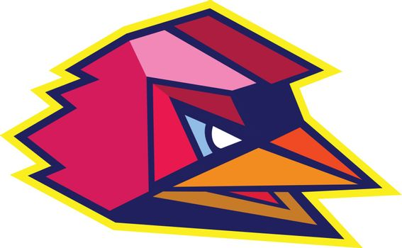 Icon style illustration of Angry Rooster chicken viewed from side done in Low Polygon style.