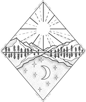 Mono line illustration of a day and night symbol with sun and mountains on top and stars and moon below set inside diamond done in black and white.