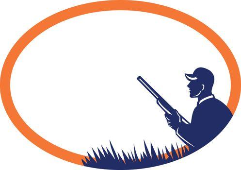 Duck Hunter Shotgun Oval Retro