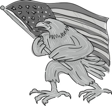 American Eagle Waving USA Flag Cartoon