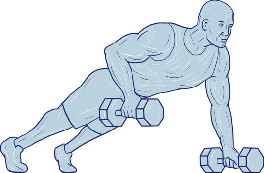 Drawing sketch style illustration of an athlete working out doing push ups with one hand holding dumbbell set on isolated white background.