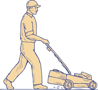 Drawing sketch style illustration of a Gardener groundskeeper Mowing pushing Lawnmower viewed from side on isolated background.