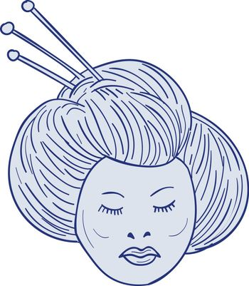 Drawing sketch style illustration of head of Geisha, geiko or geigi girl, traditional Japanese female entertainer who act as hostesses viewed from front set on isolated white background.