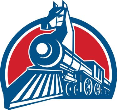 Retro style illustration of an Iron Horse, a steam train locomotive with horse head on the bow viewed from a low Angle set inside half Circle on isolated background.