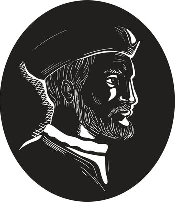 Illustration showing Jacques Cartier, French explorer of Breton origin who claimed what is now Canada for France viewed from the side set inside oval shape on isolated background done in retro woodcut style.