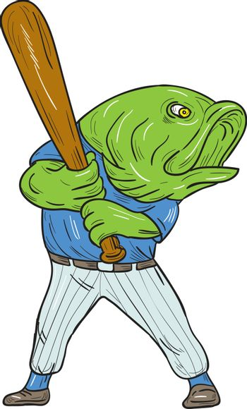 Illustration of a largemouth bass baseball player holding bat batting looking to the side viewed from front set on isolated white background done in cartoon style.