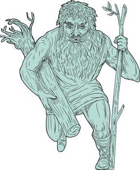 Leshy Tree Runk Staff Drawing