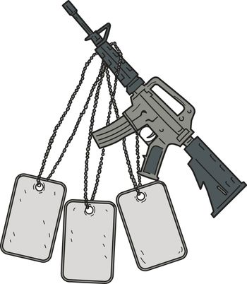 Drawing sketch style illustration of an  M4, an air-cooled, direct impingement gas-operated, magazine-fed carbine used by United States Army and US Marine Corps combat units as the primary infantry weapon with giant dog tags hanging viewed from the side set on isolated white background.