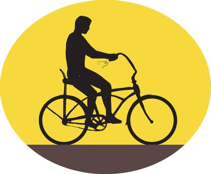 Illustration of a silhouette of a man riding an easy rider bicycle viewed from the side set inside oval shape done in retro style.