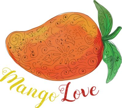 Mandala style illustration of  a mango, a juicy tropical stone fruit drupe belonging to the genus Mangifera set on isolated white background with the word text Mango Love done in watercolor.