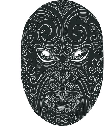 Scratchboard style illustration of a Maori mask looking fierce with mouth open and eyes protuding done on scraperboard on isolated background.