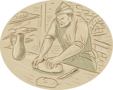 Drawing sketch style illustration of a  baker chef cook in medieval times kneading dough bread in the kitchen set inside oval shape with oven kitchen in the background.