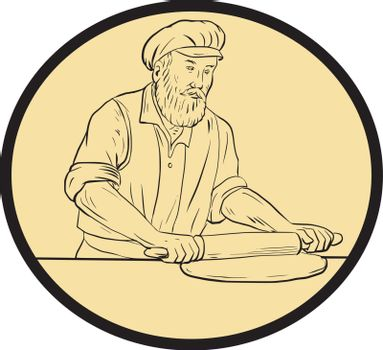 Drawing sketch style illustration of a  baker chef cook in medieval times holding rolling pin rolling on dough viewed from front set inside oval shape with on isolated background.