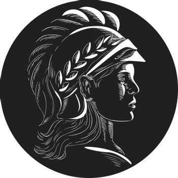 Illustration of Minerva or Menrva, the Roman goddess of wisdom and sponsor of arts, trade, and strategy wearing helmet and laurel crown viewed from side set inside oval shape done in retro woodcut style.