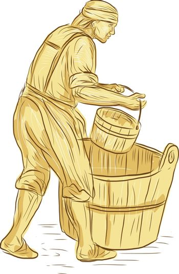 Drawing sketch style illustration of a medieval miller or milne carrying bucket with barrel on the ground viewed from the side set on isolated white background.