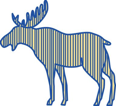 Drawing sketch style illustration of a moose (North America) or elk (Eurasia), Alces alces, the largest extant species in the deer family by the broad, flat (or palmate) antler of the male bull viewed from the side set on isolated white background.