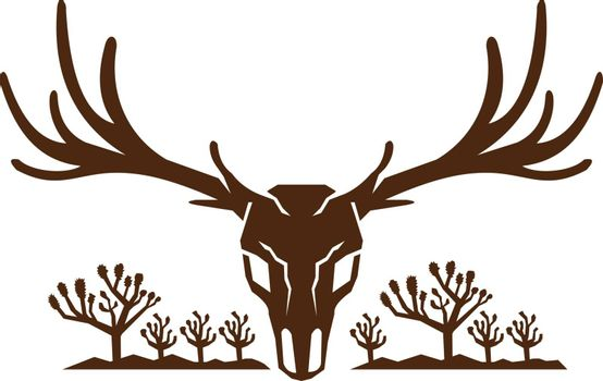 Icon style illustration of Mule Deer Skull viewed from front with Joshua Tree yucca palm and mountains in background.