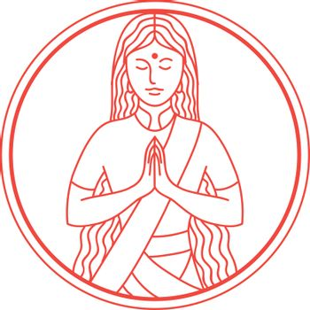 Icon style illustration of an Indian woman lady in a Namaste gesture bowing and hands pressed together, palms touching and fingers pointing upwards set inside circle.