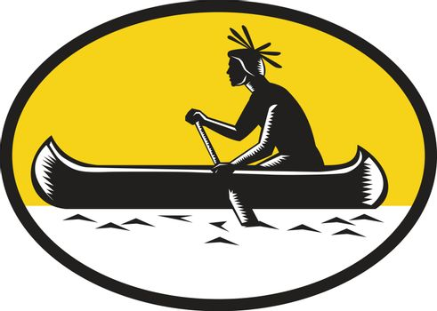 Illustration of a native american indian paddling a canoe viewed from the side set inside oval shape done in retro woodcut style.