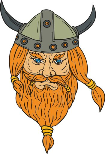 Drawing sketch style illustration of a norseman viking warrior raider barbarian head with beard viewed from front set on isolated white background.