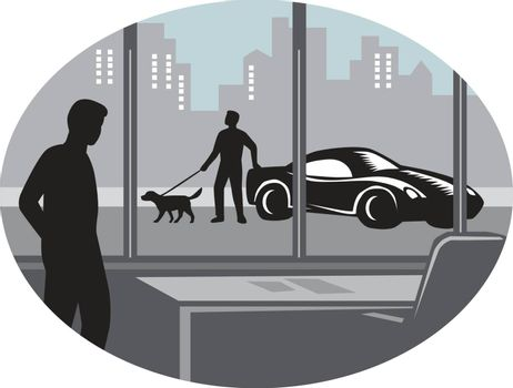 Illustratin of a man from inside an office looking through a window and seeing a person standing next to an exotic car with a well-groomed dog on a leash set inside oval shape with buildings in the background done in retro woodcut style.