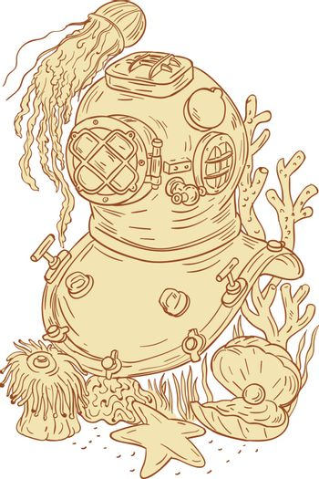 Drawing sketch style illustration of a copper and brass old school dive diving helmet underwater with jellyfish, starfish, oyster with pearl and coral set on isolated white background.