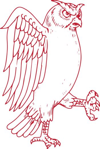 Drawing sketch style illustration of a Great Horned Owl Marching viewed from side on isolated background.