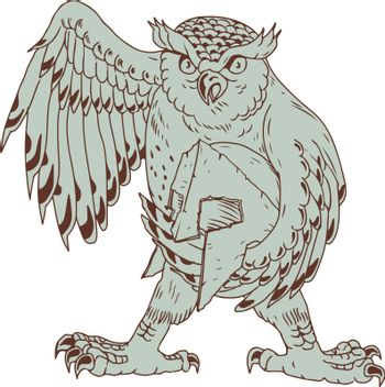 Drawing sketch style illustration of an angry Great Horned Owl Holding Spartan battle-worn Helmet viewed from front on isolated background.