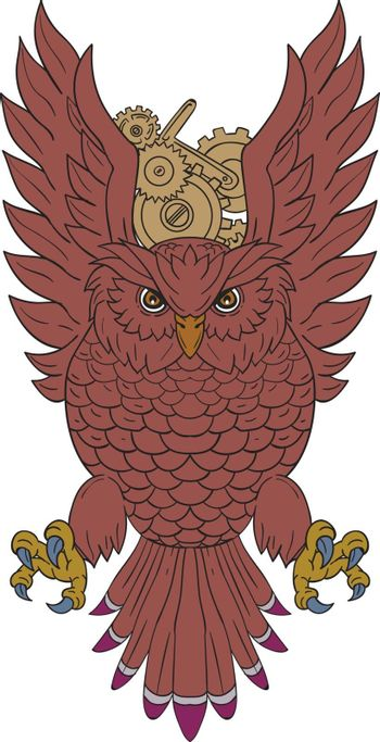 Drawing sketch style illustration of an owl facing front swooping with wings spread  out with clock gears in the background.