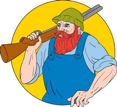 Drawing sketch style illustration of Paul Bunyan, a giant lumberjack in American folklore, carrying a shotgun rifle on shoulder set inside circle done.