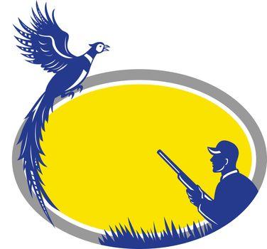 Hunter and Pheasant Bird Oval Retro
