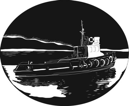 Illustration of a river tugboat, towboat or pushboat in the river set inside oval shape with water and mountain in the background done in retro woodcut style.