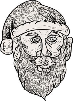 Mandala style illustration of Santa Claus head facing front set on isolated white background.