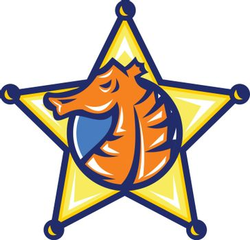 Illustration of a Seahorse set inside sheriff Star in retro badge style on isolated background.