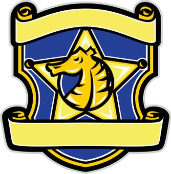 Illustration of a Seahorse set inside Star with Shield and banner scrolls done in retro badge style.