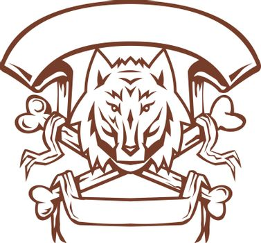 Retro style illustration of a Wolf Canis lupus head Cross Bones below it and Banner scroll on isolated background.