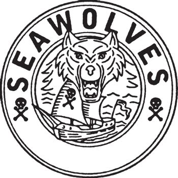 """Illustration of a Sea Wolf head with Pirate Sailing Ship in background set inside Circle with words """"SeaWolves"""" done in Line Drawing style."""