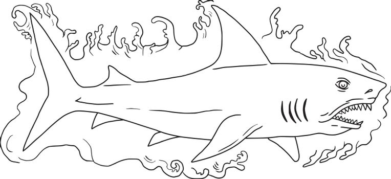 Drawing sketch style illustration of a shark swimming in water viewed from the side set on isolated white background.