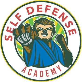 Badge icon style illustration of a sloth in karate stance fighting punching viewed from front set inside circle with words Self Defense Academy on isolated background.