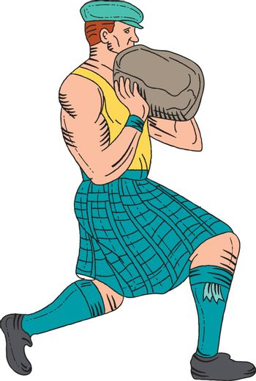 Stone Throw Highland Games Athlete Drawing