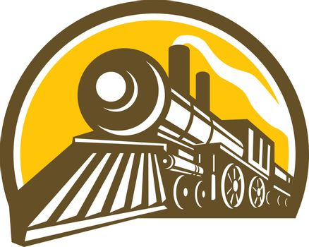 Icon style illustration of a Steam Locomotive railway Train viewed from a low angle set inside Circle on isolated background.