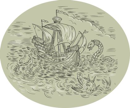 Medieval drawing sketch style illustration of a tall ship sailing in turbulent ocean sea with serpents and sea dragons around set inside oval shape.