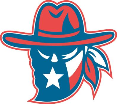 Retro style illustration of a mascot showing a Texan outlaw or bandit wearing bandana with Texas Lone Star flag on isolated background.
