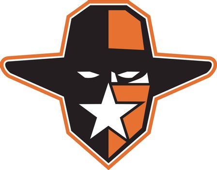 Icon style illustration of an outlaw, maverick or bandit cowboy wearing hat and star on bandana mask viewed from front on isolated background.
